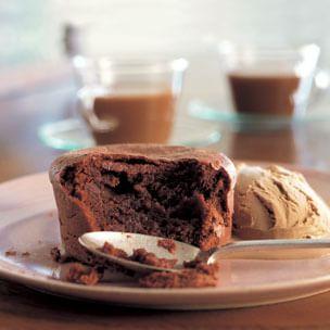 Soft-Centered Chocolate Cake with Espresso Ice Cream