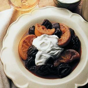 Prunes in Armagnac with Creme Fraiche