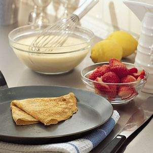 Lemon Crepes with Strawberries, Jam and Mascarpone