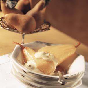 Warm Caramelized Pears with Clove Zabaglione