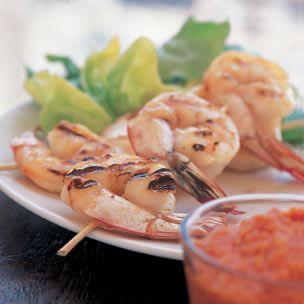 Shrimp Skewers with Romesco
