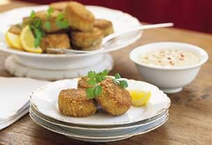 Crab Cakes with Sweet-and-Sour Cucumber Salad