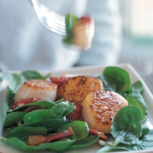 Warm Spinach Salad with Scallops
