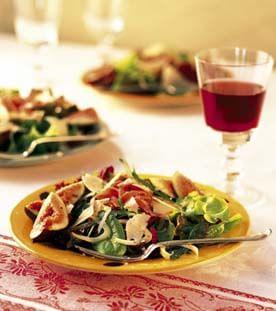 Mesclun, Arugula and Fennel Salad with Prosciutto and Pear Vinaigrette