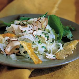 Mushrooms and Fennel with Parmesan Crisps