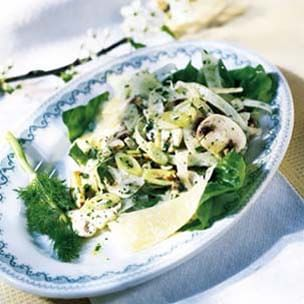 Salad of Young Fennel, Parmesan and Button Mushrooms
