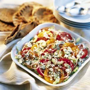 Tomato, Cucumber and Onion Salad with Feta Vinaigrette
