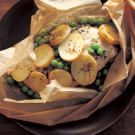 Parchment-Baked Chicken with New Potatoes, Peas and Tarragon