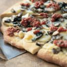 Pizza with Potatoes, Mushrooms and Tomato-Basil Pesto