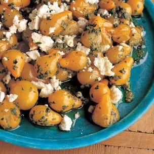 Sautéed Yellow Pear Tomatoes with Arugula Pesto and Feta ...