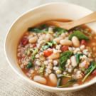 Tuscan Farro Soup with White Beans, Tomatoes and Basil