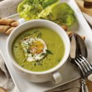 Asparagus Soup with Poached Eggs