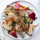 Grilled Coriander Poussin with Farro Verde, Roasted Carrots and Chioggia Beets