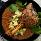 Porcini-Poached Lamb Shanks with Chanterelle-Sausage Crust