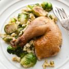 Roasted Chicken with Spaetzle, Brussels Sprouts and Smoked Apple Puree