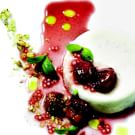 Buttermilk Panna Cotta, Cherries, Pistachios and Basil