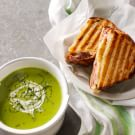 Pea Soup with Grilled Ham and Cheese