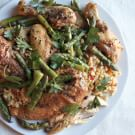 Chicken with Saffron Rice and Warm Asparagus Salad