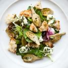 Warm Artichoke and Bread Salad with Marinated Crescenza