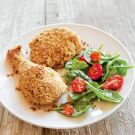 "Oven ""Fried"" Chicken with Baby Spinach Salad"