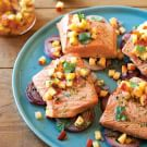 Grilled Salmon and Red Onions with Nectarine Salsa