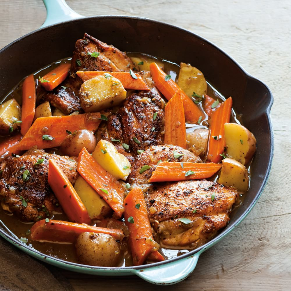 Braised Chicken Thighs with Carrots, Potatoes and Thyme ...