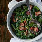 Collard Greens with Lardons and Smoked Onion Jam