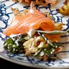 Fresh Herb and Potato Latkes with Crème Fraîche and Smoked Salmon