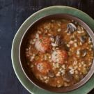 Barley-Leek Soup with Mini Chicken Meatballs
