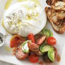 Burrata with Grilled Bread and Heirloom Tomatoes
