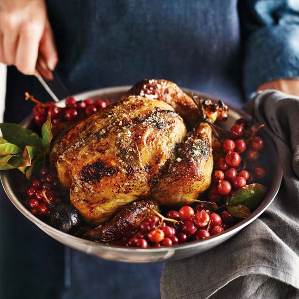 Herbed Roast Chicken with Grapes Img43l