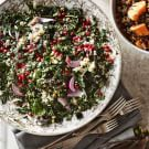 Kale Salad with Quinoa, Pistachios and Pomegranate Seeds