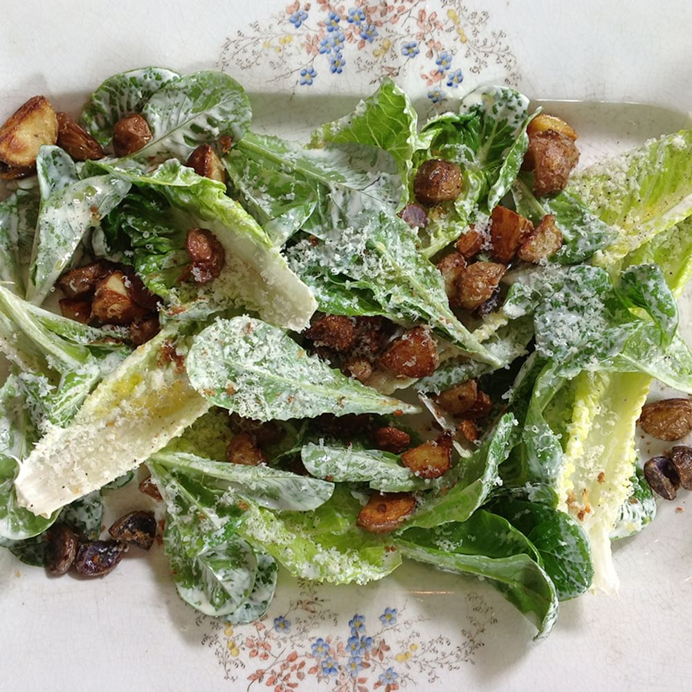 Caesar Salad with Anchovy-Parmesan Potato Croutons | Williams-Sonoma
