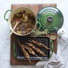 Beef Skewers with Onion Ragu