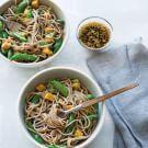 Sesame Soba Noodles with Tofu and Sugar Snap Peas