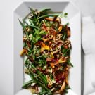 Green Beans with Wild Mushrooms and Crispy Shallots