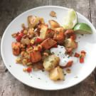 Spicy Veggie Hash with Sweet Potatoes, Peppers and Corn