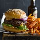 Cheddar-Stuffed Burgers with Air-Fried French Fries