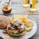 Chicken Burgers with Bourbon Barbecue Sauce and Mushrooms