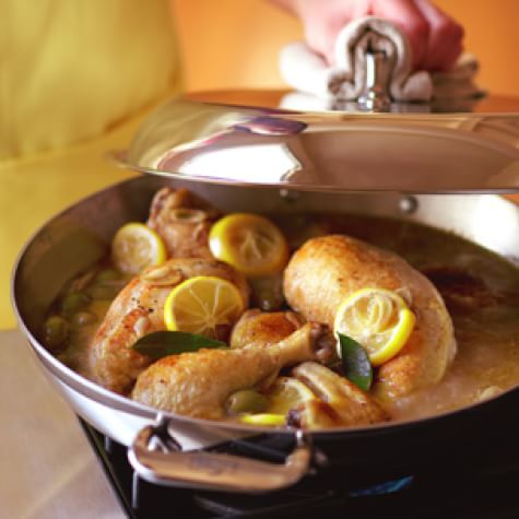 Braised Chicken with Lemon & Green Olives