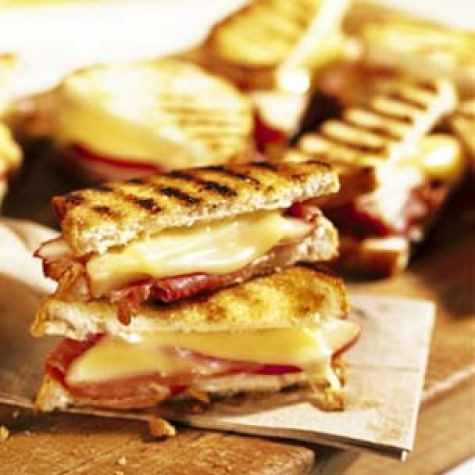 Grilled Fontina Sandwiches with Prosciutto and Pear