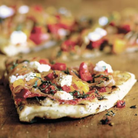 Herbed Pizzas with Prosciutto, Basil and Goat Cheese