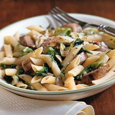 Penne with Escarole, Spicy Sausage and Rosemary