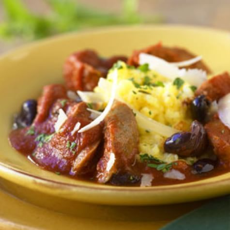 Polenta with Sausages and Tomato-Olive Ragout