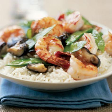 Stir-Fried Shrimp with Snow Peas and Mushrooms