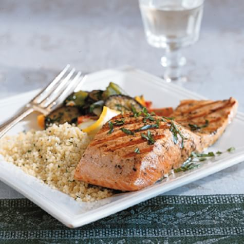 Grilled Salmon with Lemon Oil and Basil
