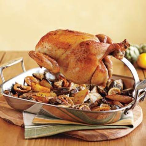 Dry-Brined Chicken & Meyer Lemon-Roasted Vegetables