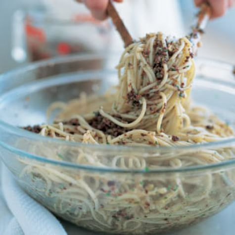 Spaghettini with Olive Pesto