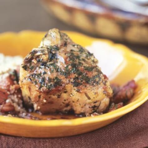 Lamb Chops with Mint, Tomato and Garlic Sauce