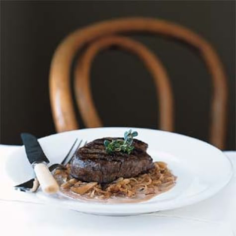 Grilled Beef Filets with Caramelized Shallots